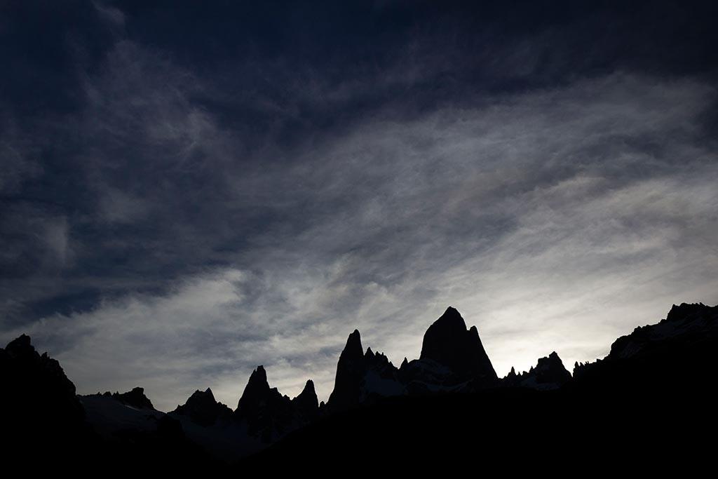 El Chaltén - Acampamento de Agostini - Noite chegando