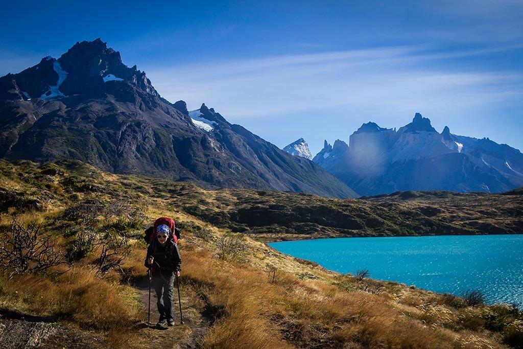 Torres del Paine - Trilha Paine Grande para Las Carretas - Vista para Paine Grande, Cuernos e lago Pehoé