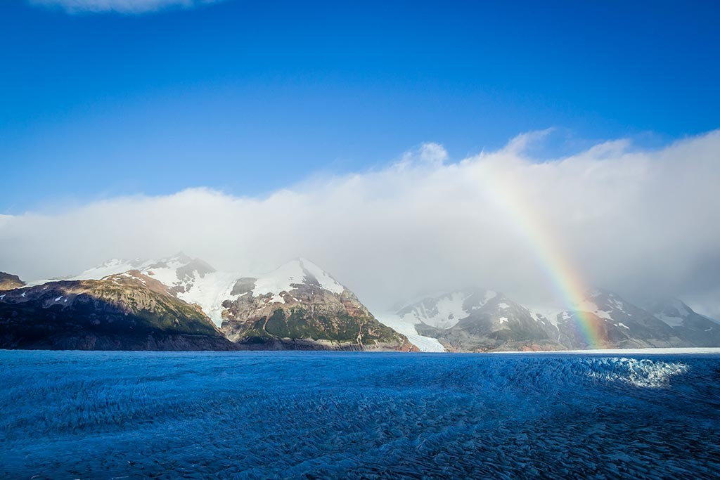 Torres del Paine - Trilha Paso para Grey - Glaciar Grey com arco-íris
