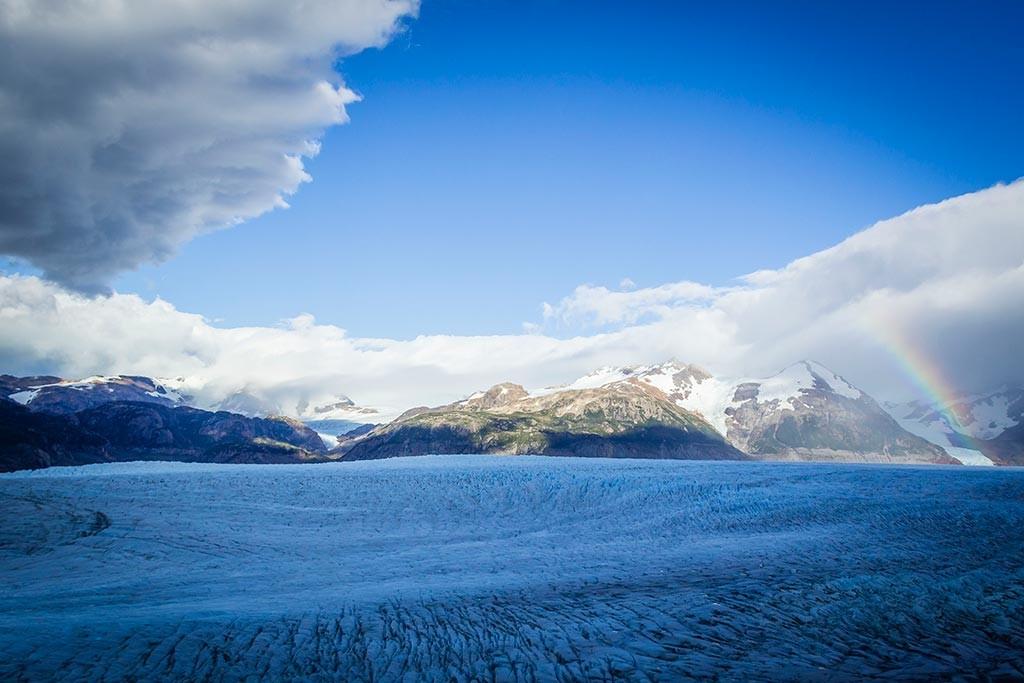 Torres del Paine - Trilha Paso para Grey - Glaciar Grey com arco-íris 2