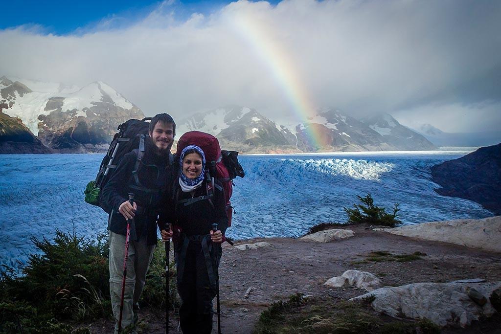 Torres del Paine - Trilha Paso para Grey - Glaciar Grey, nós e o arco-íris