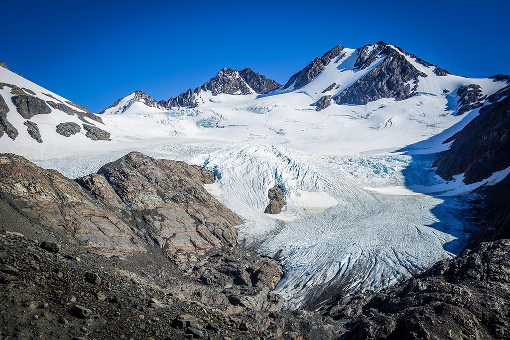 Torres del Paine - Trilha Perros para Paso - Vista para o glaciar no Cerro Amistad