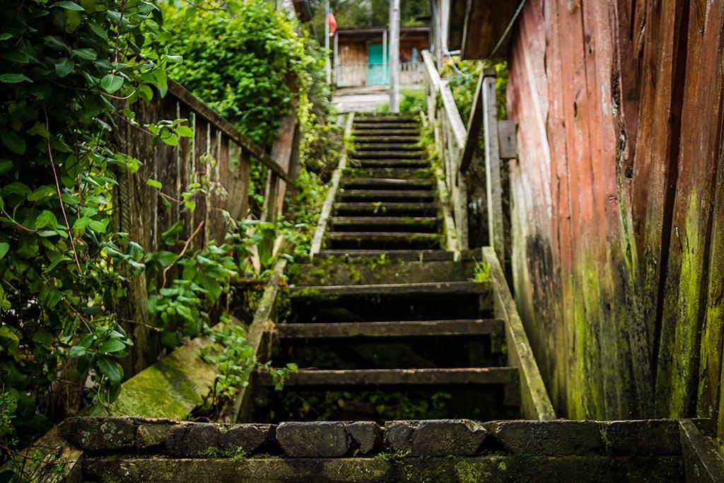 Carretera Austral - Caleta Tortel - Escadas e mais escadas